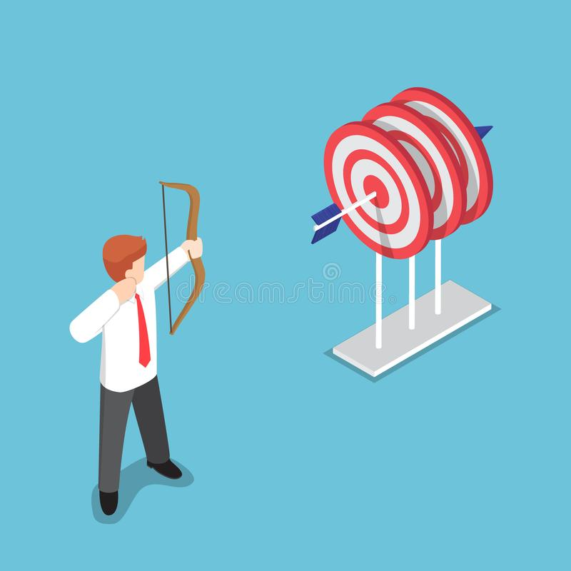 Isometric businessman shooting at the center of three target by vector illustration