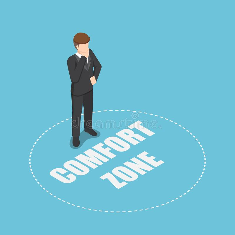 Isometric businessman standing in comfort zone royalty free illustration