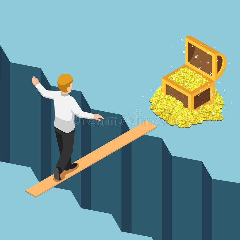 Isometric businessman walking on small bridge over abyss to the stock illustration