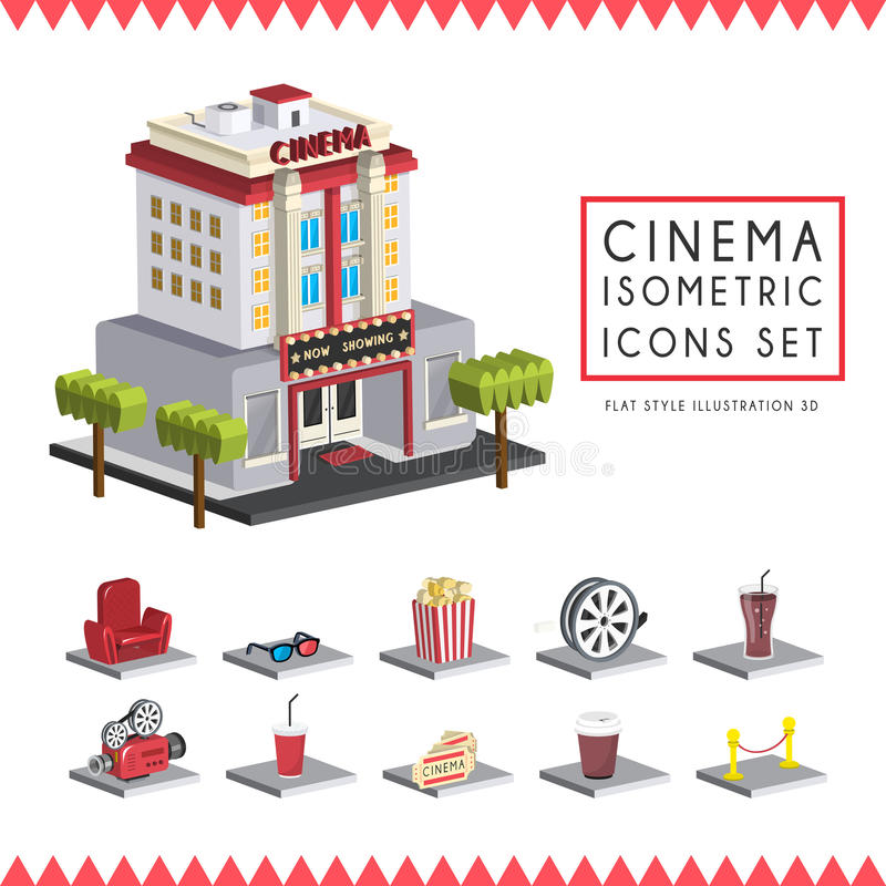 Flat 3d isometric cinema icons set illustration vector illustration