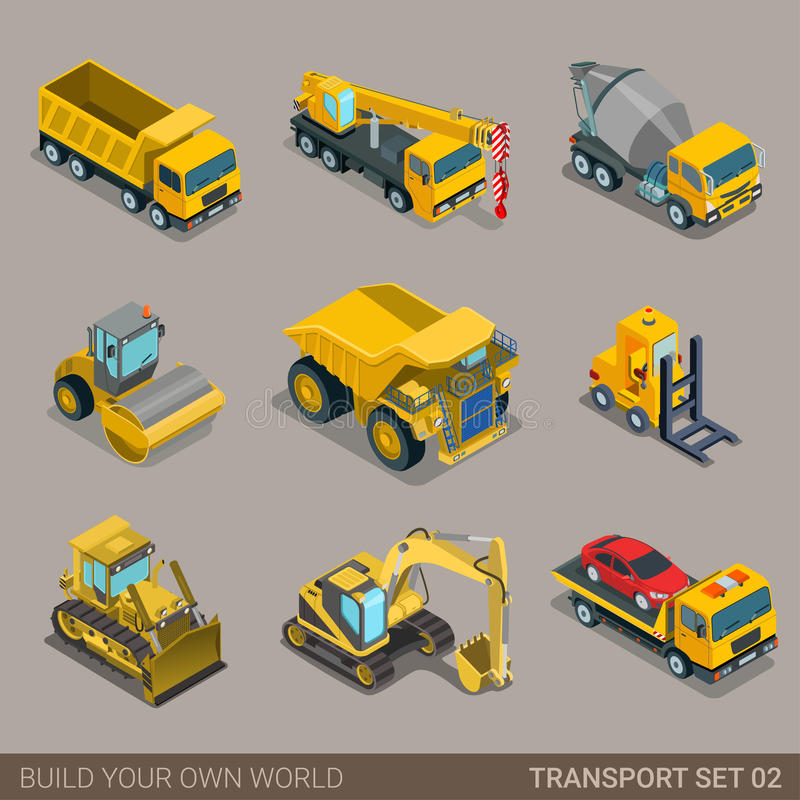 Build Your Own Cement Mixer ~ Flat d isometric city construction transport icon set