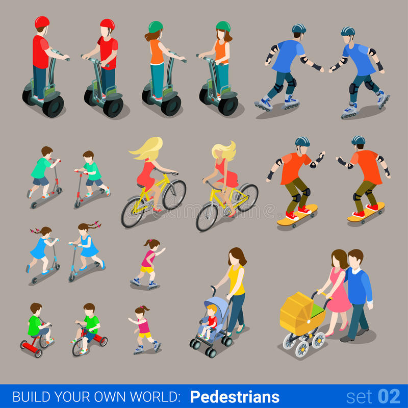 Flat 3d isometric city pedestrians on wheel transport icon set royalty free illustration
