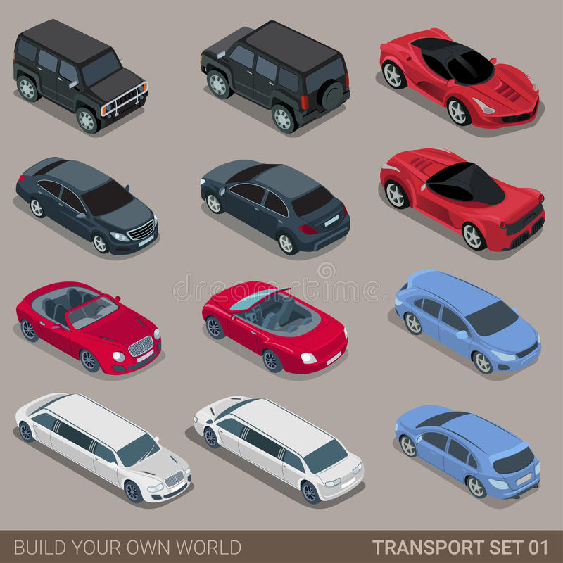 Flat 3d isometric city road transport icon set vector illustration