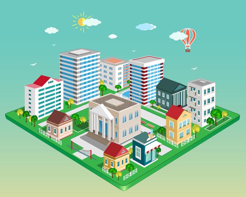 Flat 3d isometric city. Set of detailed isometric vector buildings royalty free illustration