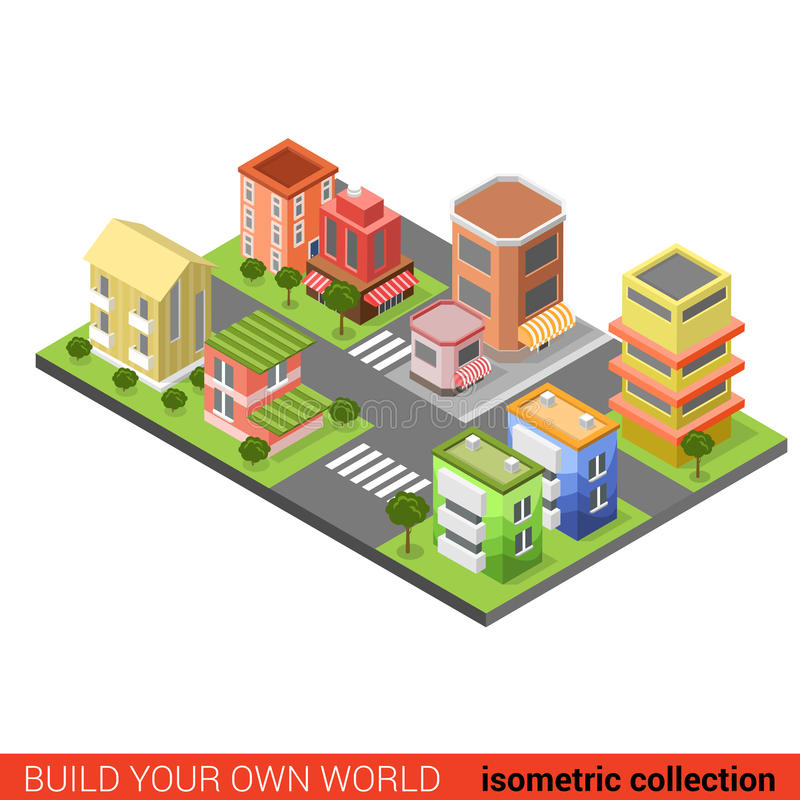 Flat 3d isometric city street cross building block infographic vector illustration