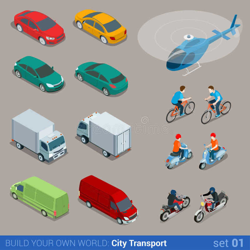 Flat 3d isometric city transport icon set royalty free illustration