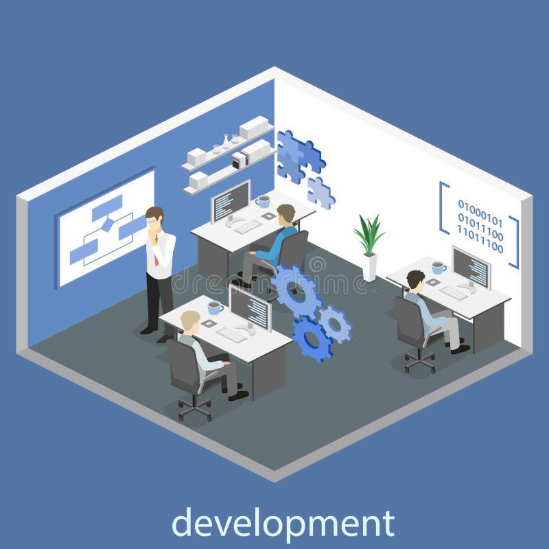 Flat 3D isometric concept illustration of office software developer vector illustration