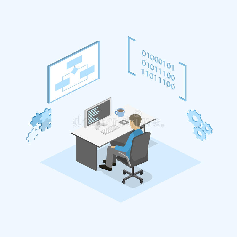 Flat 3d isometric concept illustration of office software developer and teamwork stock - Office software applications ...