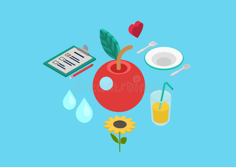 Flat 3d isometric concept vector web healthy nutrition bio food royalty free illustration