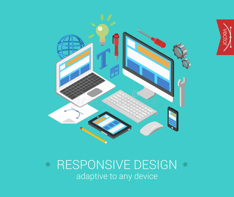 Flat 3d isometric concept web responsive website vector illustration
