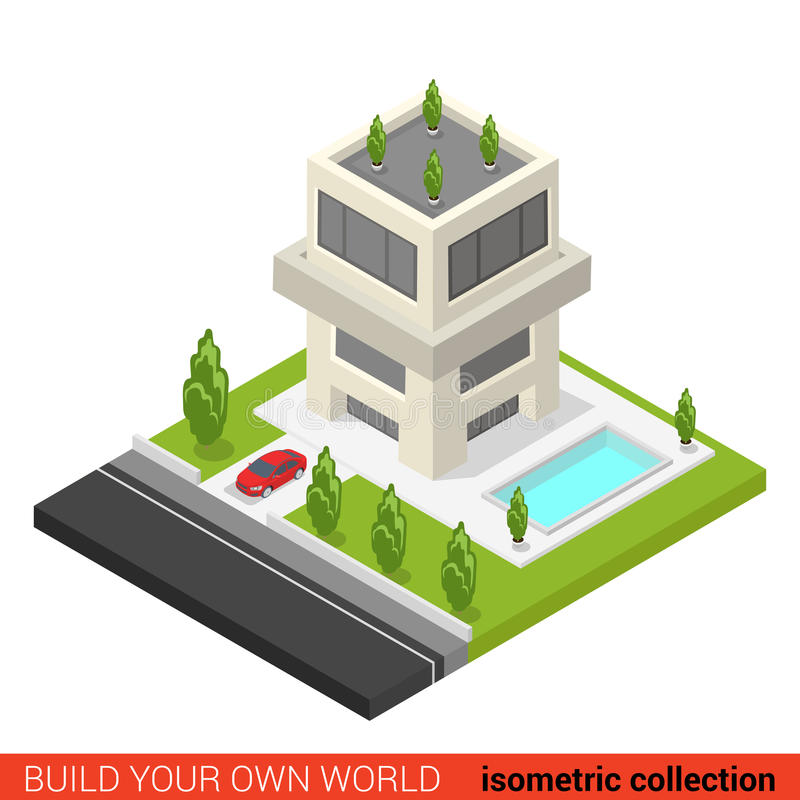 Flat 3d isometric condo hostel pool building block. Flat 3d isometric creative modern three floor condo condominium hostel pool building block info graphic royalty free illustration