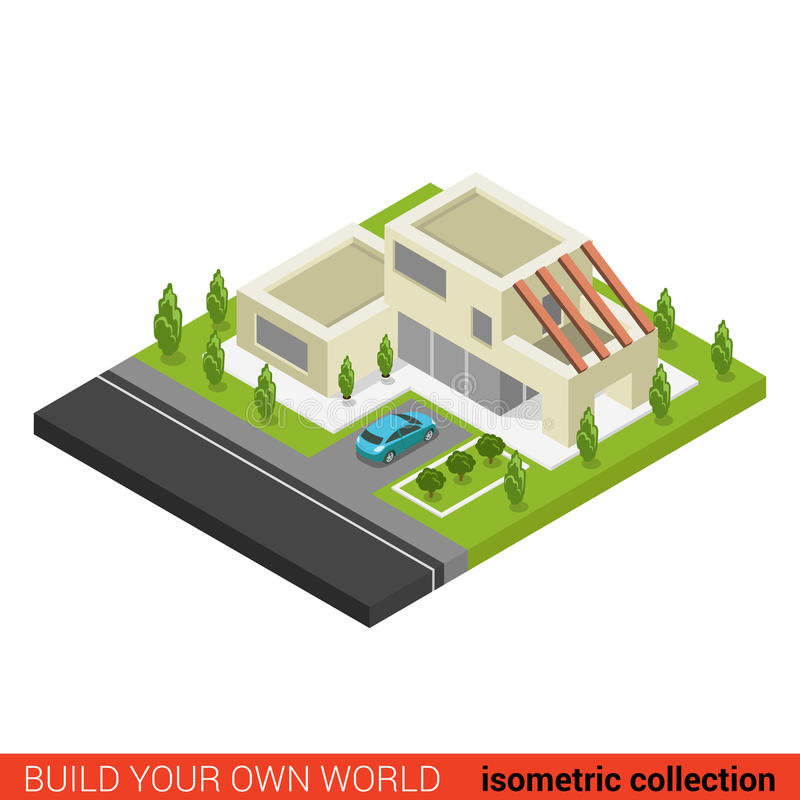 Flat 3d isometric family house car parking building for Build your own modern home