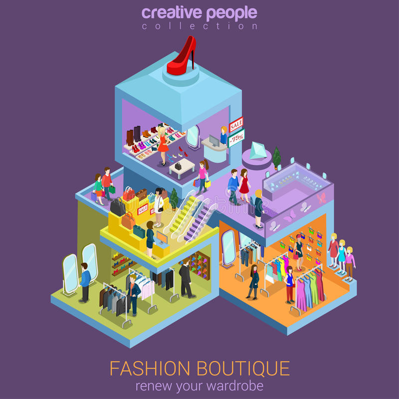 Flat 3d isometric fashion boutique shopping mall sale concept vector illustration