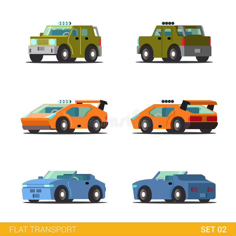 Flat 3d Isometric Funny City Transport Icon Set: Cars