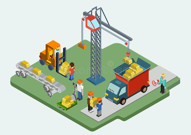 Flat 3d isometric gold bullion ingot web infographic concept. Vector. Crane people loading golden bars into van, pallet, conveyor process. Treasury savings royalty free illustration