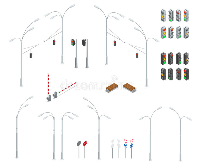 Flat 3d isometric high quality city street urban objects icon set. Traffic light, street lights, stop road, bench royalty free illustration