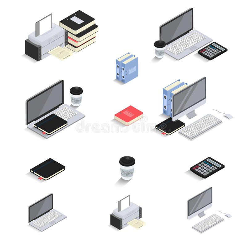 Flat 3d Isometric icons - laptop, computer, calculator, notebook, coffee, office folder. Office Equipments and Interior. Items. Vector. Electronic gadgets and stock illustration