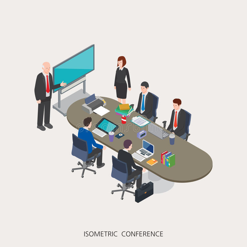 Flat 3d isometric illustration conference concept design, Abstract urban modern style, high quality business royalty free illustration