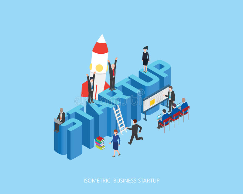 Flat 3d isometric illustration stark up concept design, Abstract urban modern style, high quality business series.  royalty free illustration