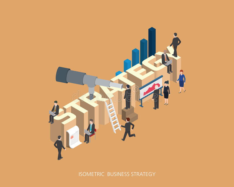 Flat 3d isometric illustration strategy concept design, Abstract urban modern style, high quality business series. royalty free illustration