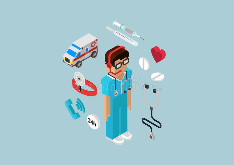 Flat 3d isometric infographic emergency ambulance service doctor royalty free illustration
