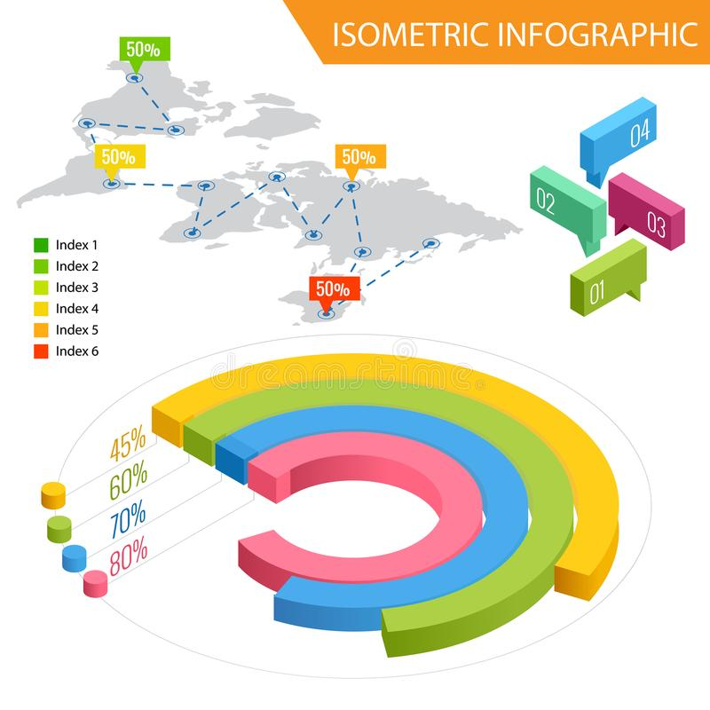 Flat 3d isometric infographic for your business presentations. Big set of infographics with data icons, world map charts royalty free illustration