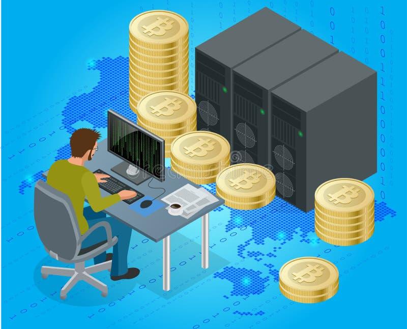Flat 3d isometric man on computer online mining bitcoin concept. Bitcoin mining equipment. Digital Bitcoin. Golden coin royalty free illustration
