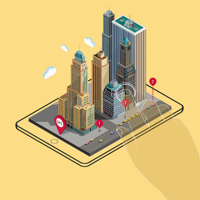 Flat 3d Isometric Map On Mobile GPS Navigation Stock Vector