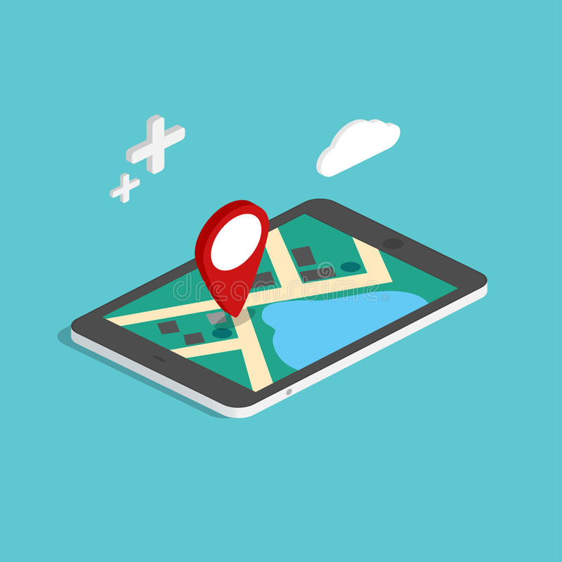 Flat 3d isometric mobile navigation maps infographic. Paper map stock illustration