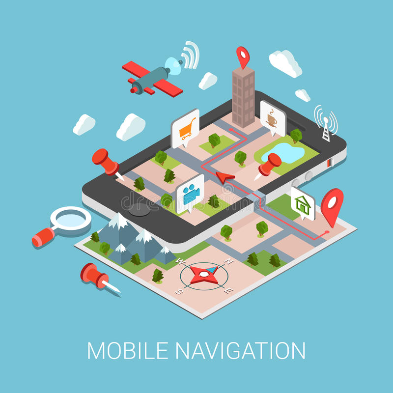 Flat 3d isometric mobile navigation web infographic for 3d flat design online
