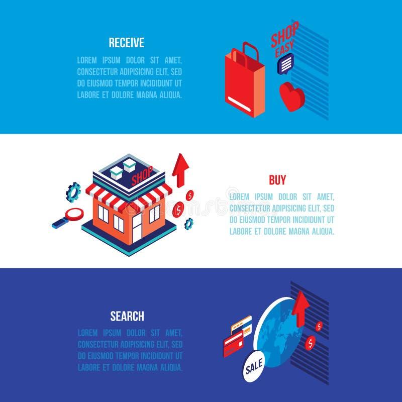 Flat 3d isometric modern design Online shopping e-commerce banner set stock illustration