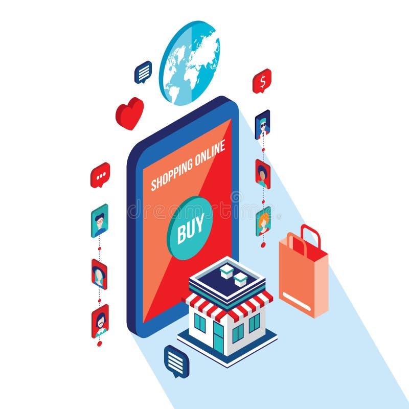 Flat 3d isometric modern design Online shopping and e-commerce concept stock illustration