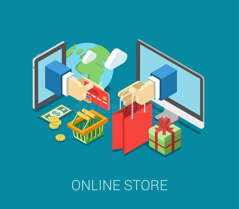 Flat 3d isometric online store e-commerce web infographic concept. Vector. Internet sale shopping cart, payment, checkout, gift box. Hand hold credit card stick