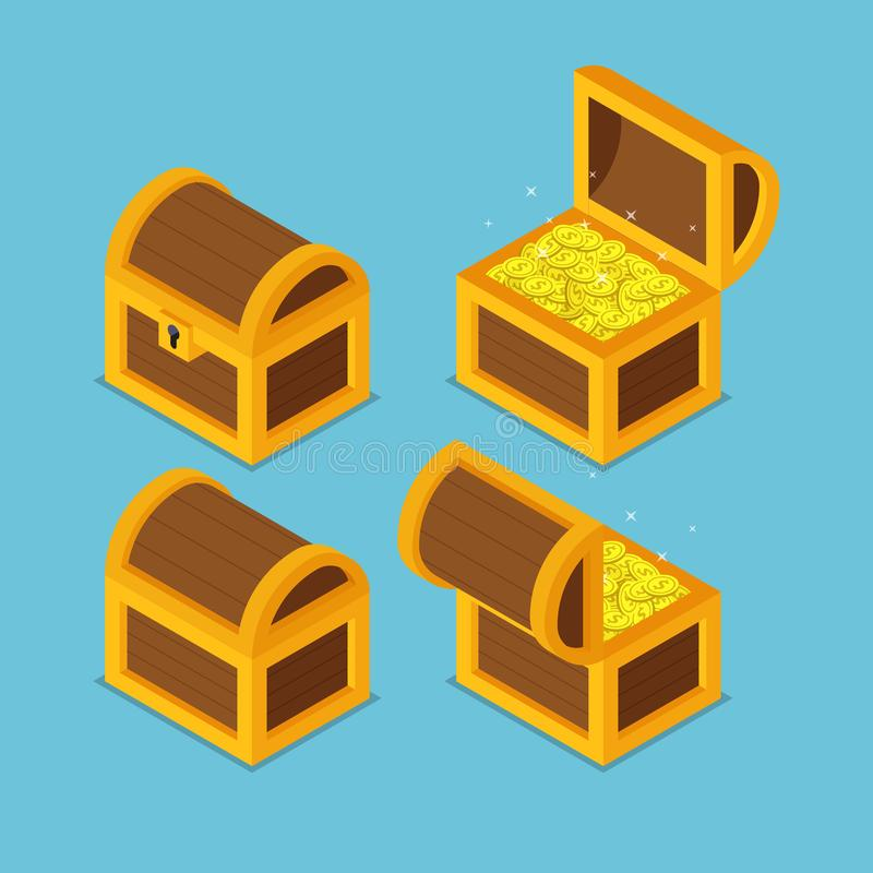 Isometric wooden treasure chests. stock illustration