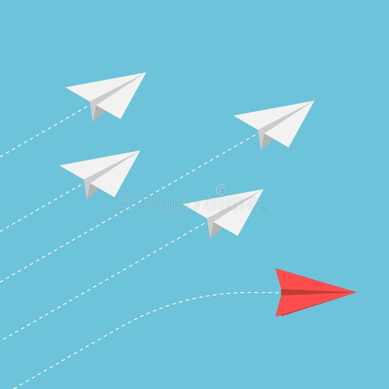 Isometric red paper airplane changing direction from the group royalty free illustration