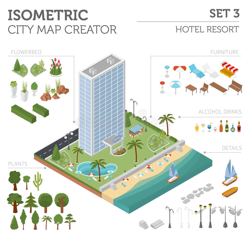 Set Of Isometric City Landscape Design Elements  3D