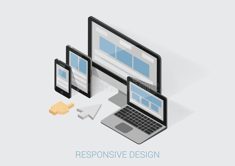 Flat 3d isometric responsive web design infographic concept royalty free illustration