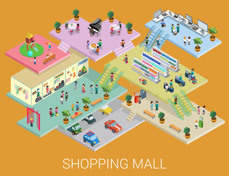 Flat 3d isometric shopping mall concept vector vector illustration