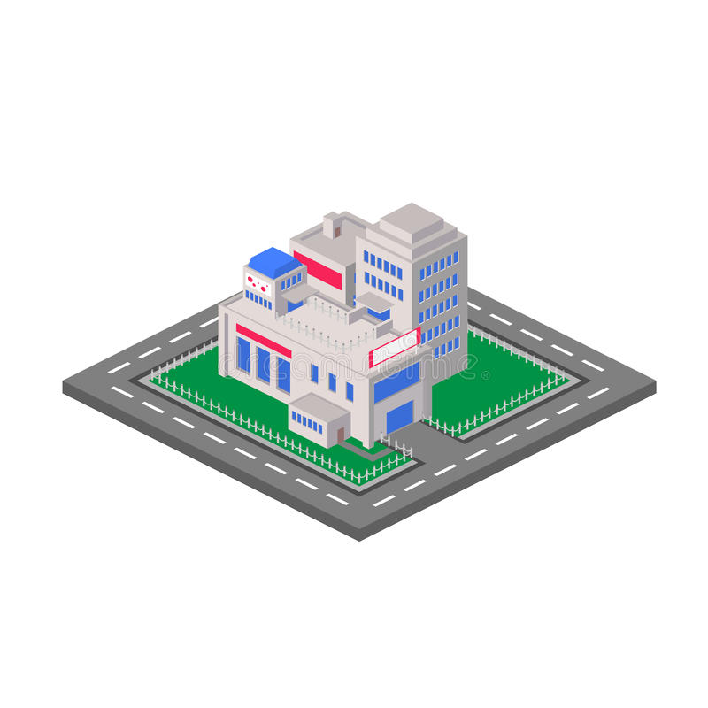 Flat 3D isometric shopping mall concept vector. vector illustration