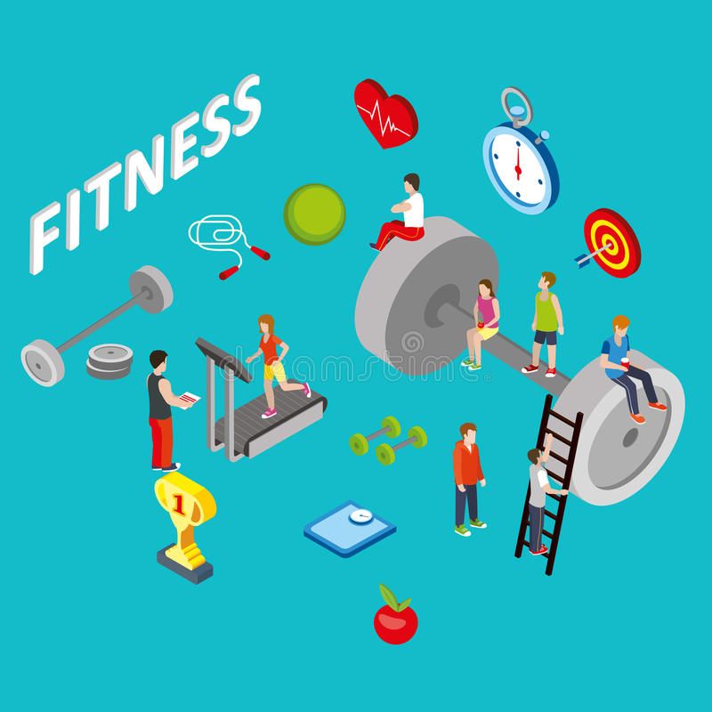 Flat 3d isometric style fitness web infographics concept vector illustration