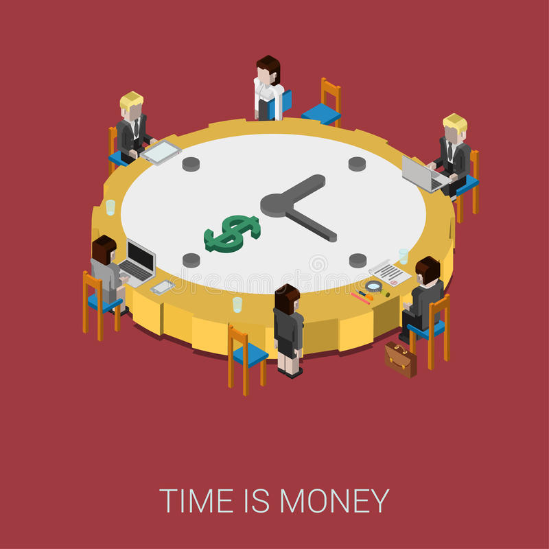 Flat 3d isometric style modern time is money infographic concept stock illustration