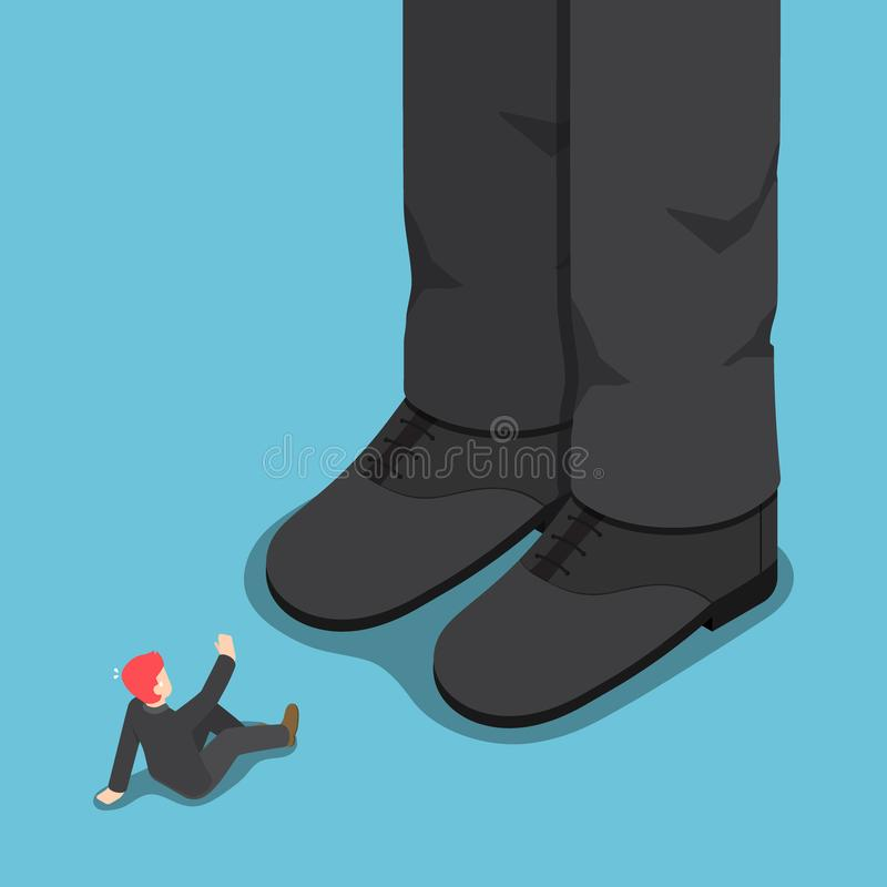 Flat 3d isometric tiny businessman in front of giant leg. vector illustration