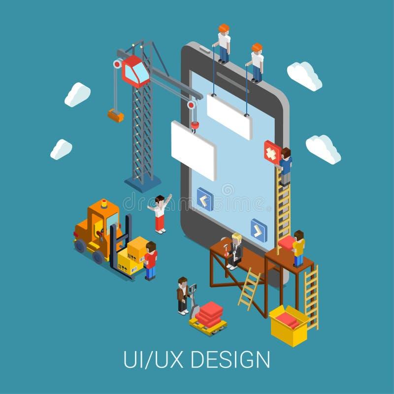 Flat 3d isometric UI/UX design web infographic concept. Flat 3d isometric mobile UI/UX design web infographic concept vector. Crane people creating interface on royalty free illustration