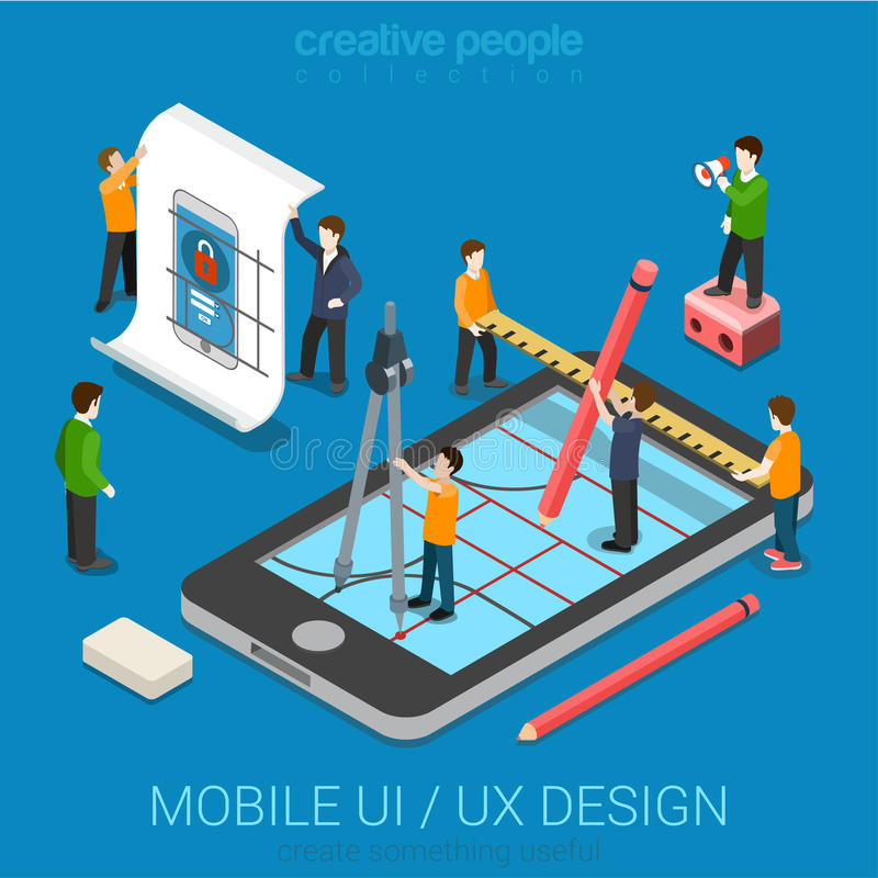 Flat 3d isometric UI/UX design web infographic concept. Mobile UI / UX design web infographic concept flat 3d isometric vector. People creating interface on royalty free illustration