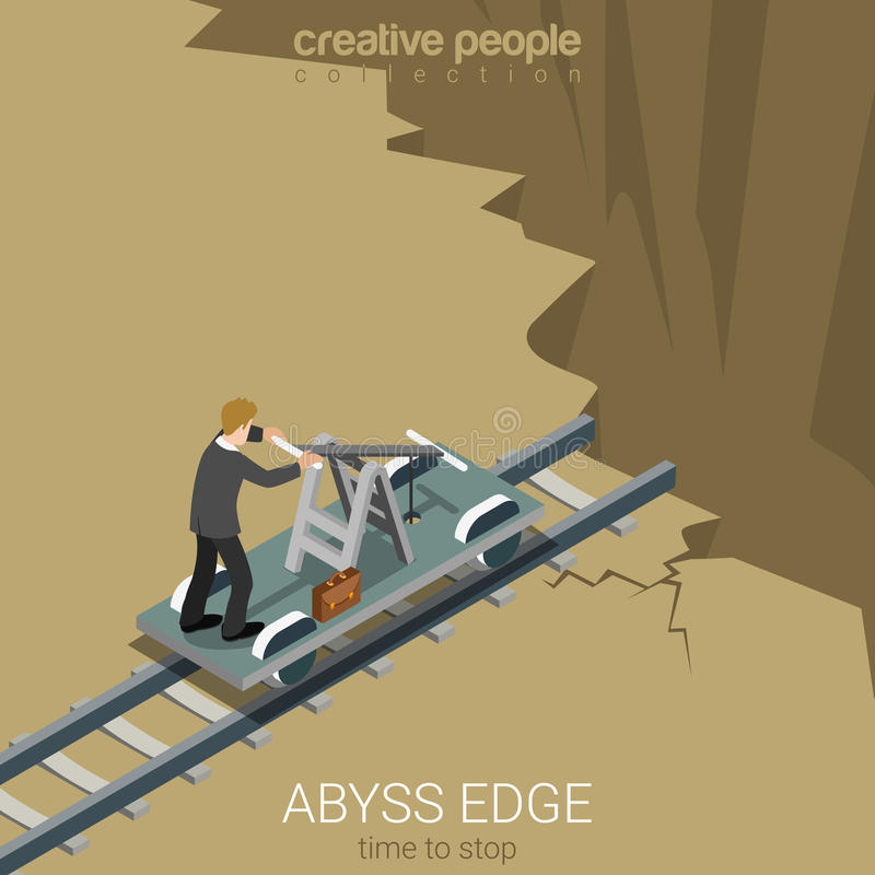 Flat 3d isometric vector abyss edge time to stop business. Flat 3d isometric style abyss edge time to stop business concept web infographics vector illustration stock illustration
