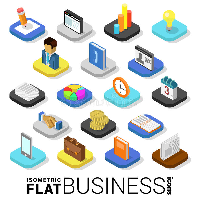 Flat 3d isometric vector business finance money mobile app icon royalty free illustration
