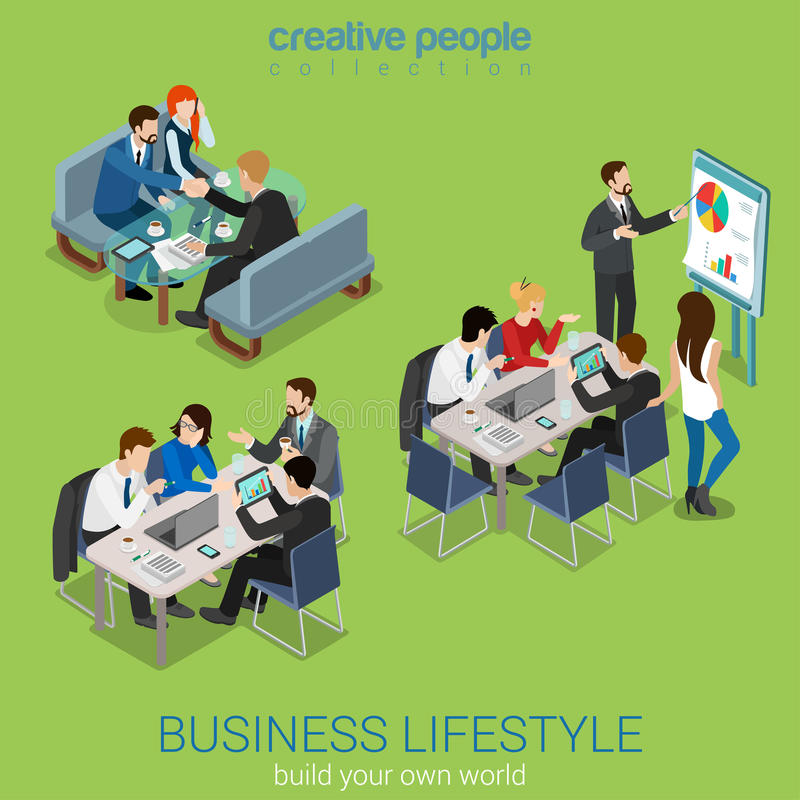 Flat 3d isometric vector business office life: teamwork meeting. Flat 3d web isometric office meeting room report business collaboration teamwork brainstorming vector illustration