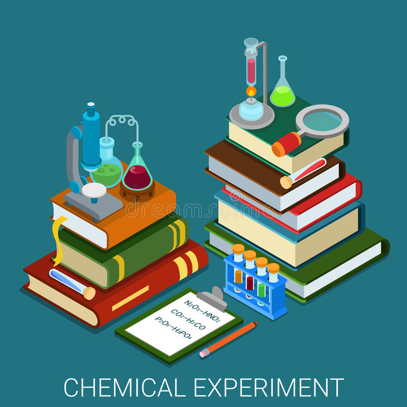Flat 3d isometric vector chemical lab experiment research books. Flat 3d isometric style chemical lab experiment research concept web infographics vector stock illustration