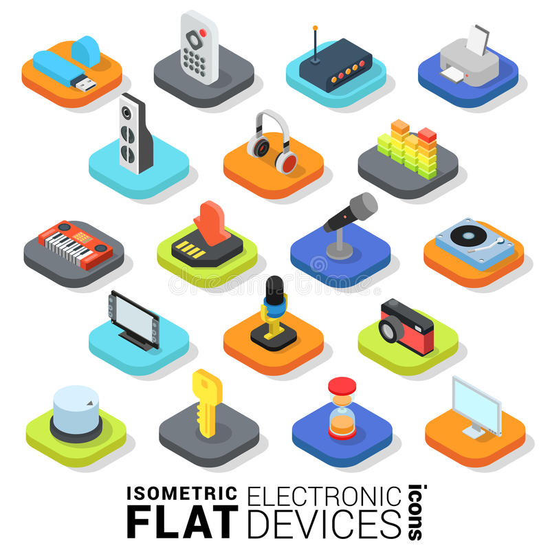 Flat 3d isometric vector electronic devices mobile app icon royalty free illustration