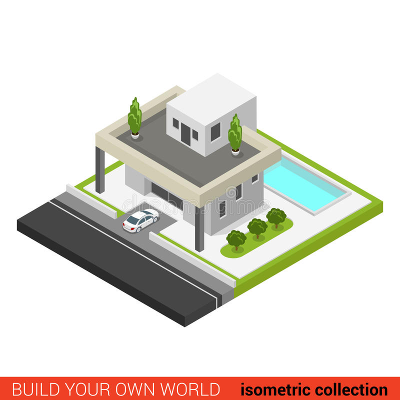 Flat 3d isometric vector family house backyard pool building. Flat 3d isometric creative modern stylish family house car parking backyard pool building block vector illustration